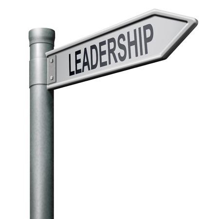 team leadership: leadership road sign follow team leader or way to success concept Stock Photo