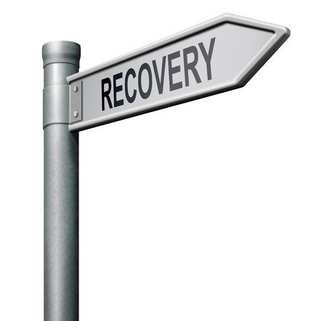 road sign indicating way to recovery economic growth Stock Photo - 8406393