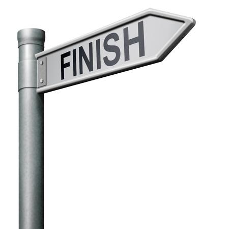 end line: signo de carretera que indica el camino a la meta final de la competencia una salida de problemas