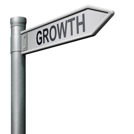 성장 시장 주식 또는 비즈니스 이익 증가 나타내는도 표지판