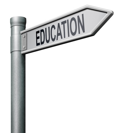 road sign indicating way to a good education learn and study to gather knowledge and wisdom Stock Photo - 8406556