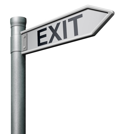way out: exit road sign arrow the way out to the finish