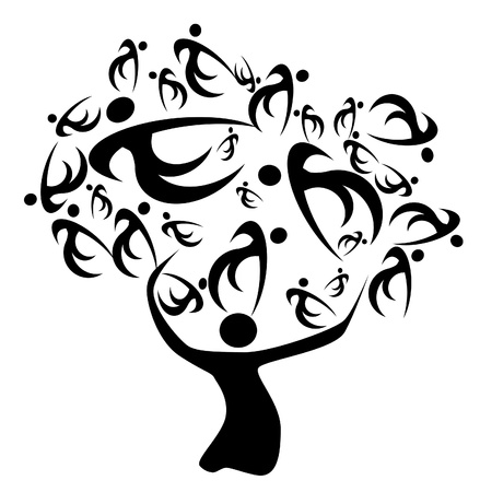arbol genealógico: árbol de familia antepasados y decescents en la historia de sus familiares