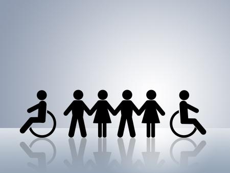 handicap people: concepto de figuras de la cadena de papel para la igualdad de derechos y oportunidades para todas las mujeres deshabilitado de hombre blanco y negro Foto de archivo