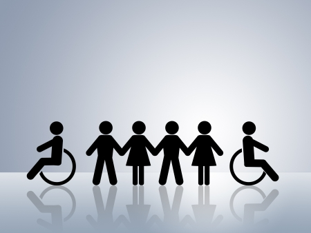 handicap: concetto di figure di catena di carta per la parit� di diritti e opportunit� per tutte le donne disabilitata di uomo bianco e nero
