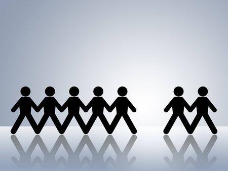 vacante: las cifras de cadena de papel con un hombre desaparecido dejando un hueco para ser llenado por el nuevo empleador o miembro del equipo de puestos de trabajo vacantes