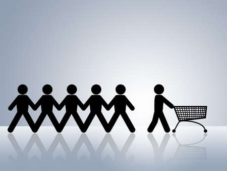 empty shopping cart: paper chain figures with one pushing empty shopping cart concept for online shopping or internet shop Stock Photo