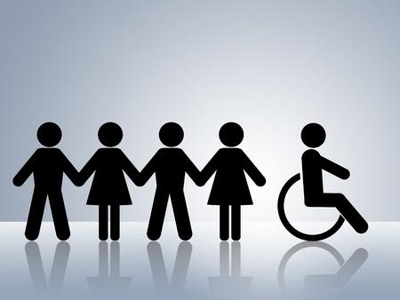 discriminacion: concepto de figuras de la cadena de papel para la igualdad de derechos y oportunidades para todas las mujeres deshabilitado de hombre blanco y negro Foto de archivo