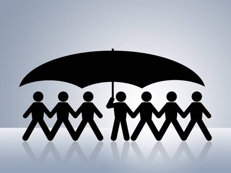 seguro social: papel figuras salud protecci�n seguridad social seguro concepto de la cadena uno sostiene un paraguas