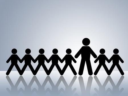 supervisi�n: cifras de cadena de papel con un adulto con un grupo de ni�os, la supervisi�n de un adulto