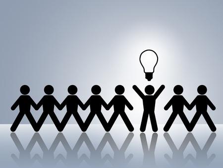 id�e lumineuse: cha�ne en papier figures brillante id�e brillant id�e nouvelle innovation Banque d'images