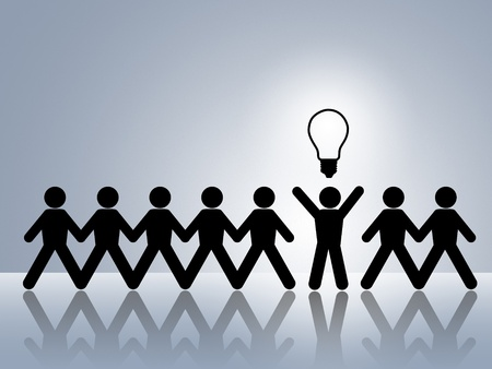 vision problems: paper chain figures bright idea brillant idea new innovation