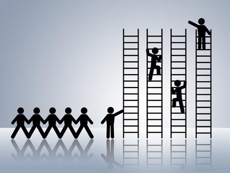 superiority: cadena de papel figuras de hombre de negocios escalada escalera de �xito y obtener la promoci�n de empleo