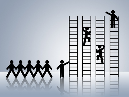 climbing up: paper chain figures business man climbing ladder of success and getting job promotion