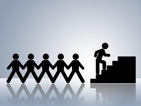 climbing stairs: figure di catena di carta arrampicata scale lavoro promozione o carriera spostare