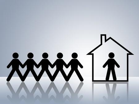 apartment market: Casa de figuras de cadena de papel para alquilar o comprar propietario dentro y personas en lista de espera fuera de Foto de archivo