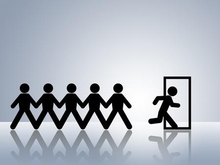salida de emergencia: las cifras de cadena de papel huir escapan la ruta de salida o evacuaci�n de emergencia a trav�s de