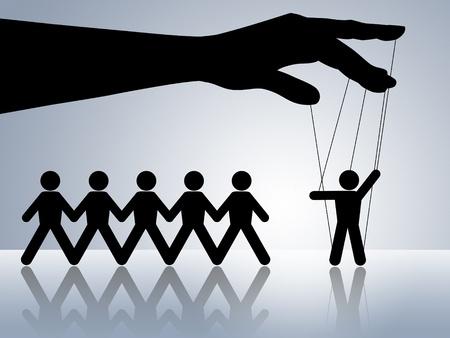 marioneta: cadena cifras marionetas de papel en una marioneta de cadena manipulada por manipulador mandona obay �rdenes