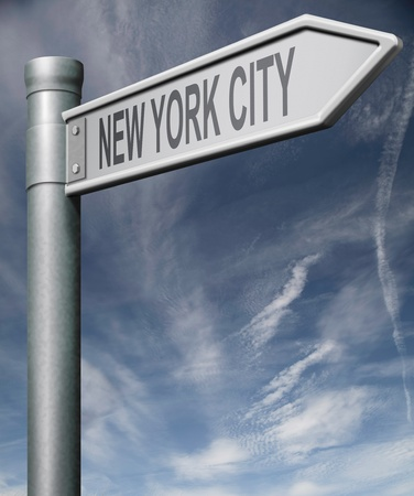 city trip: New York City road sign isolated arrow pointing towards American city concept travel tourism holiday vacation culture destination route highway in United States of America USA
