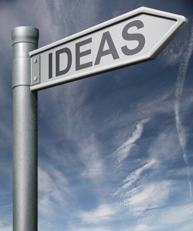 ideas road sign arrow pointing towards new ideas innovation or creation ideas and innovations change the world through technology technical evolution Stock Photo - 9005512