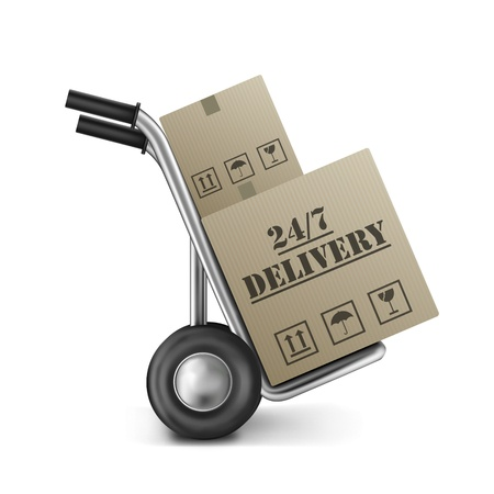 order delivery 24/7 cardboard box package shipping clock round service on hand truck or trolley shipment from online internet store Stock Photo - 9092699