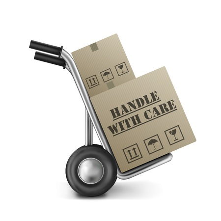 handtruck: handle with care cardboard box on hand trolley fragile