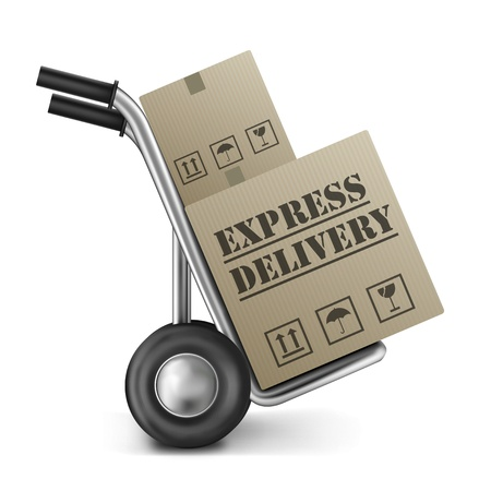 sack truck: express delivery cardboard box on hand or sack truck isolated on white concept button for internet web shop order shipping