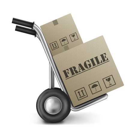 sack truck: fragile cardboard box on sack truck or hand truck isolated on white Stock Photo