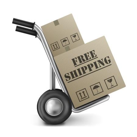 送料: オンライン インター ネット ショッピングの手のトラック上の茶色のパッケージで注文の茶色の段ボール箱配達送料無料します。 写真素材