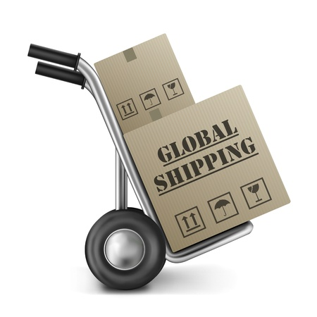 sacktruck: global shipping international trade brown cardboard box on hand truck international trade import and export around the globe delivery of online shopping order Stock Photo