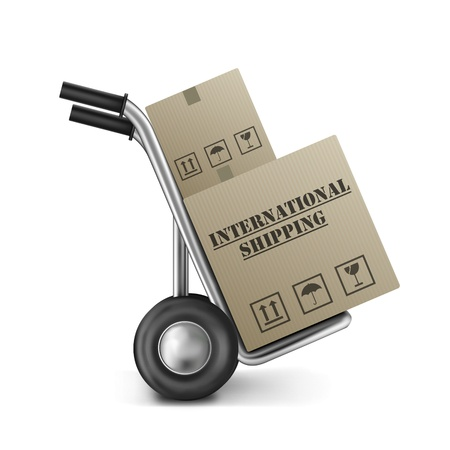 global shipping international trade brown cardboard box on hand truck international trade import and export around the globe delivery of online shopping order Stock Photo - 9092702
