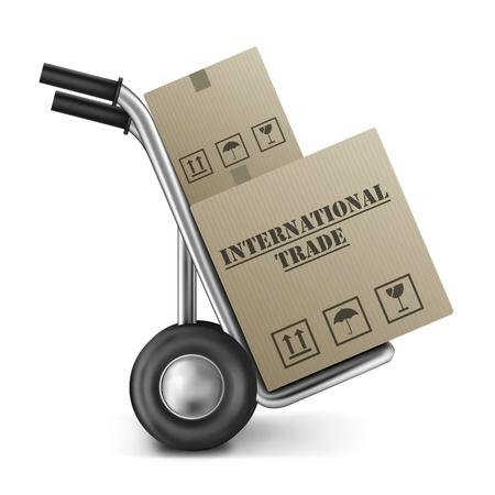 export and import: comercio internacional mano cami�n caja de cart�n en todo el mundo o global econom�a importaci�n y exportaci�n mercado mundial imortation y exportaci�n