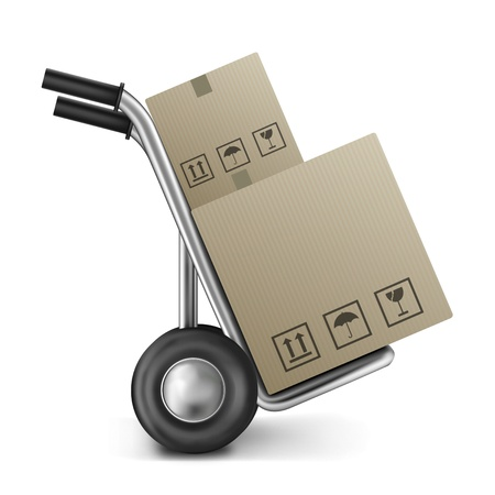 relocation: cardboard box on sack truck with copy or empty space isolated on white concept for online internet web shop or storage and moving box Stock Photo