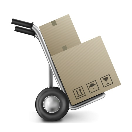 ship order: cardboard box with empty space on a sack truck or trolley image with copy space concept for transportation relocation or moving package