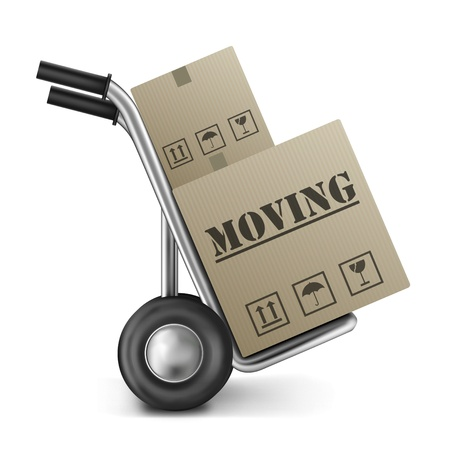 moving truck: moving cardboard box on hand truck isolated on white relocation package