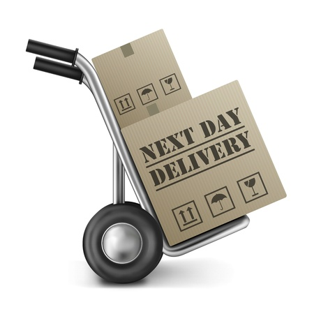 ship order: next day delivery cardboard box hand truck shipping online shopping order isolated on white background brown package sending from internet shop or store