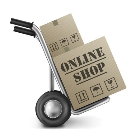 web store: online shop cardboard box internet shopping store to order online on the web