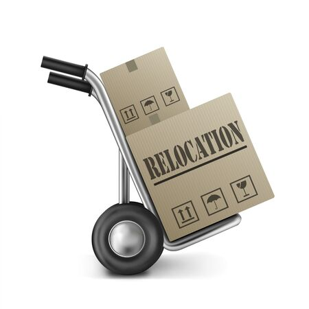 relocate: relocation cardboard box relocate or move package on hand truck or sack trolley moving and translocate storage boxes