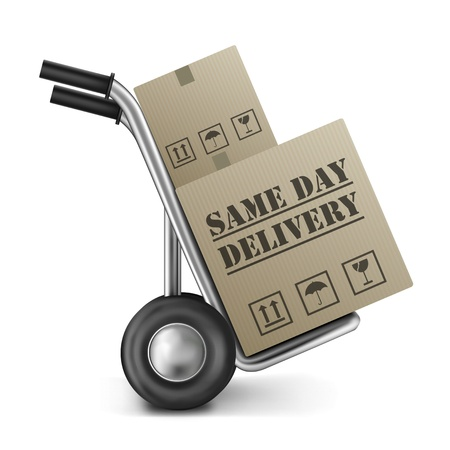 delivery package: same day delivery cardboard box on sack truck isolated on white fast shipping of online internet order from web shop