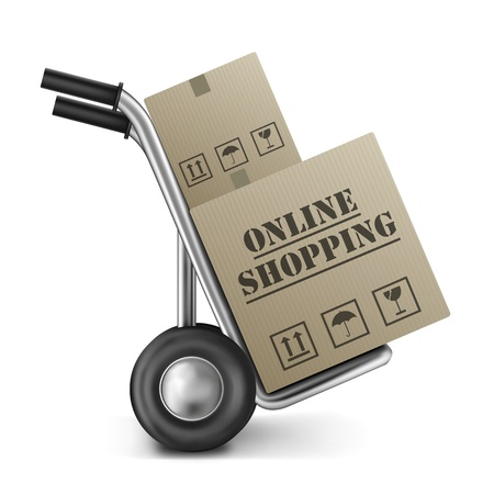 out of order: online shopping cardboard box on hand truck isolated on white order from internet web shop or store checking out trolley