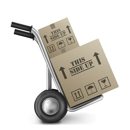 this side up cardboard box on hand trolley isolated on white fragile and handle with care Stock Photo - 9092696