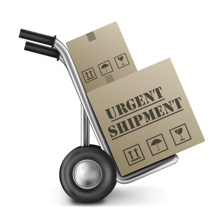 urgent shipping brown cardboard box on a hand or sack truck isolated on white fast or speed delivery of online order from internet shop icon for web shopping Stock Photo - 9092688