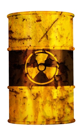 barrel radio active waste from nuclear power plant danger of radiation and risk of contamination by gamma radiation
