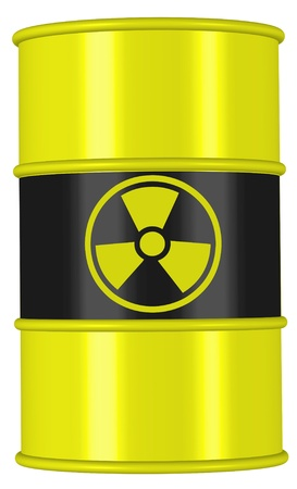 radioactive warning symbol: barrel radio active waste from nuclear power plant danger of radiation and risk of contamination by gamma radiation