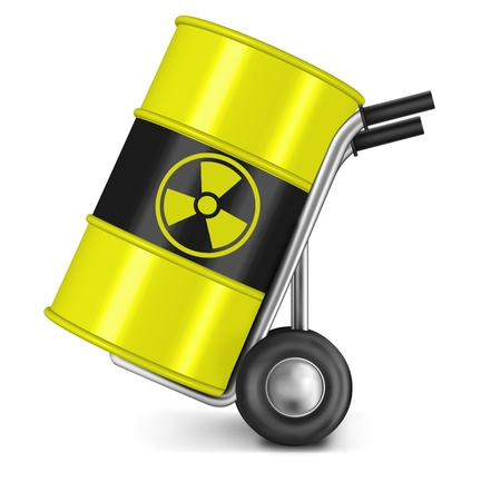 radioactive warning symbol: barrel with radio active waste nuclear power station waiste dangerous hazard of gamma radiation radioactive radiance risk radium uranium  Stock Photo