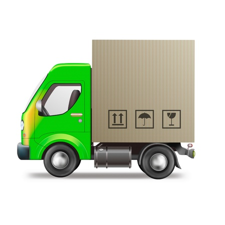 moving truck: delivery truck shipping package from online web shop