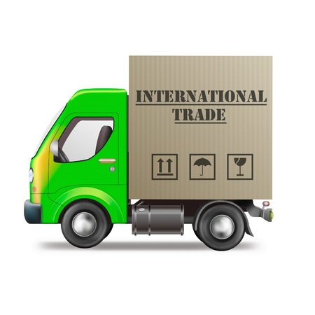 international trade: international trade delivery truck import and export worldwide transportation global economy cardboard box