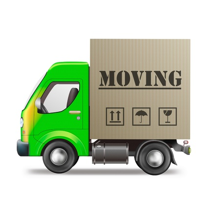 relocating: moving truck relocation with cardboard moving box isolated on white