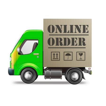 online order internet shop package delivery by truck in cardboard box online shopping store icon photo