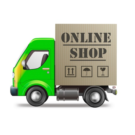 order online: online web shop package delivery internet order shopping icon truck with cardboard box